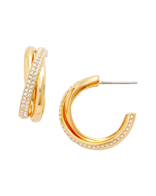 Nadri - Metallic Trinity Pave Crystal 19mm Hoop Earrings - Lyst