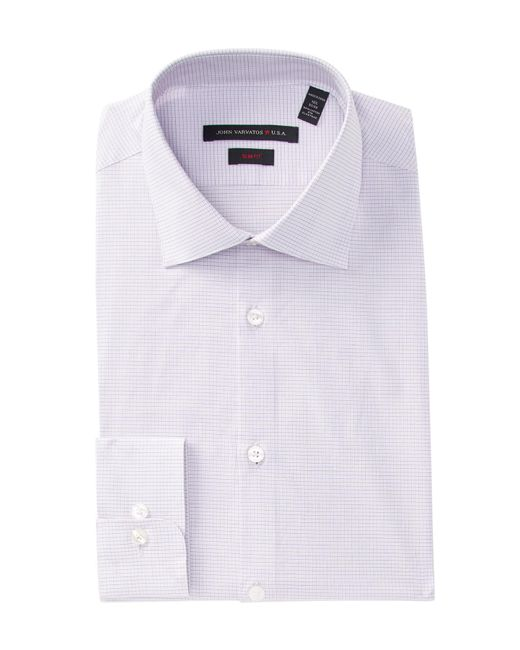 John Varvatos - Purple Mini Checkslim Fit Dress Shirt for Men - Lyst