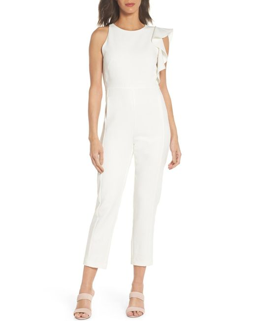 Chelsea28 - White One-side Ruffle Jumpsuit - Lyst