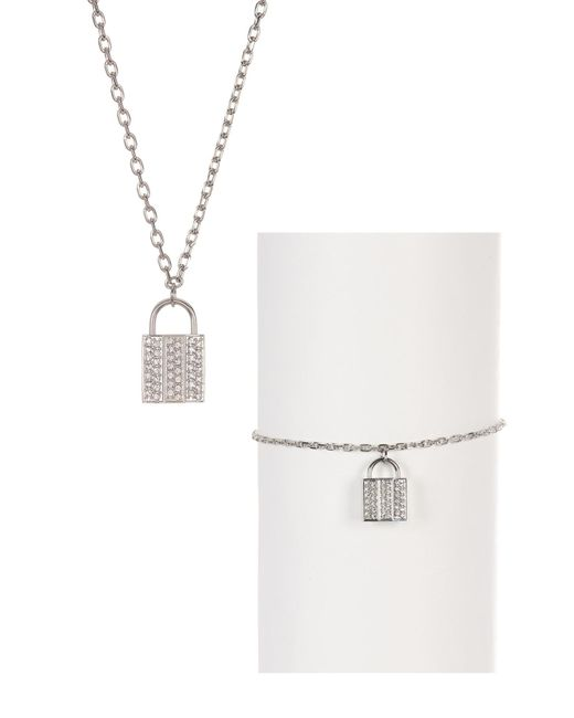 Swarovski | Metallic Case Crystal Necklace & Bracelet Set | Lyst