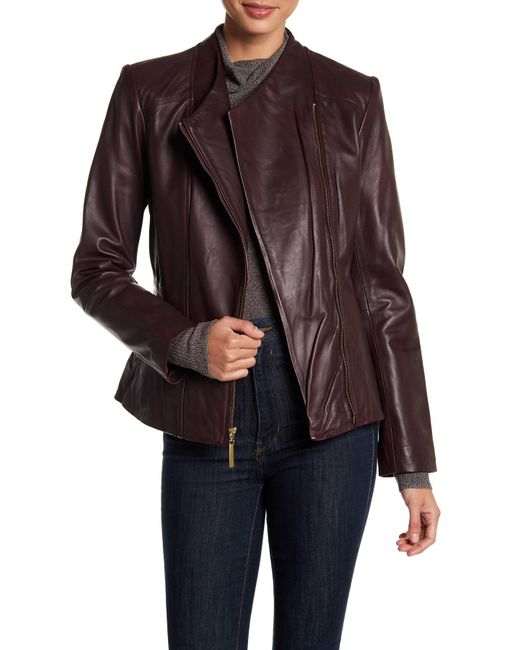 Ellen Tracy - Multicolor Asymmetrical Zip Genuine Leather Jacket - Lyst