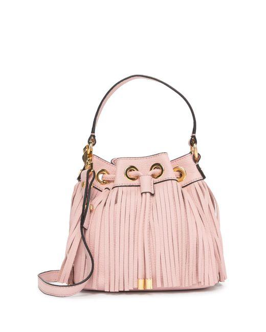 MILLY - Pink Essex Fringe Small Drawstring Leather Handbag - Lyst