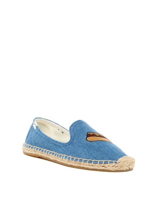 Soludos | Blue Hot Dog Embroidered Smoking Slipper | Lyst