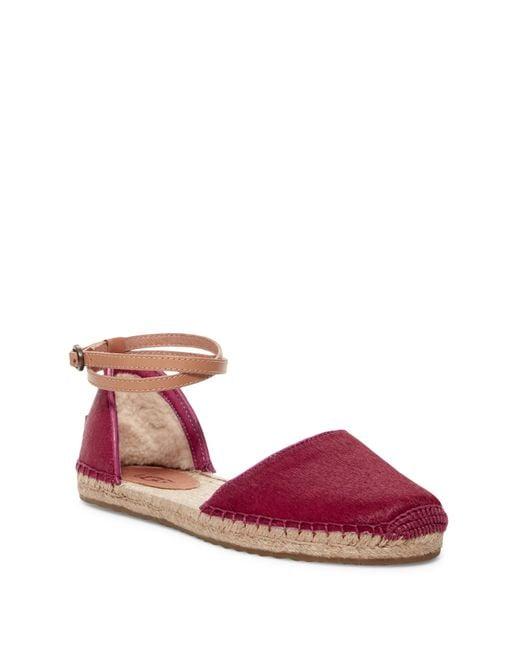 UGG | Pink Libbi Genuine Calf Hair Ankle Strap Espadrille | Lyst
