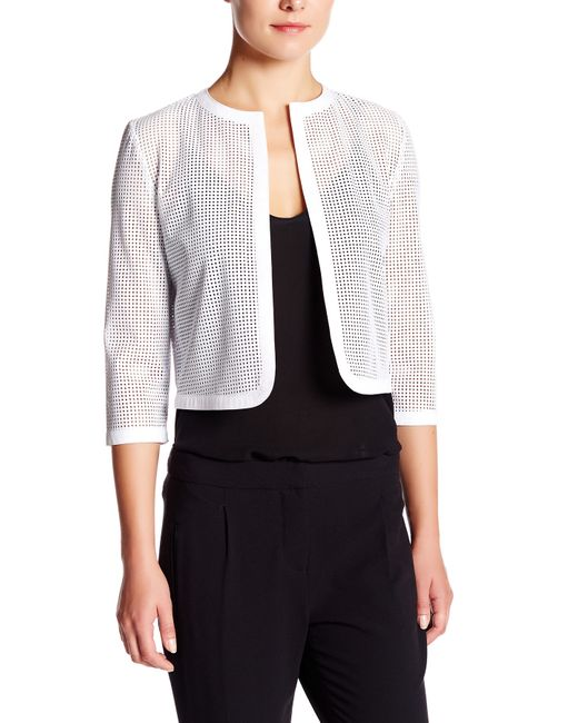 Anne Klein | White Faux Leather Cardigan | Lyst