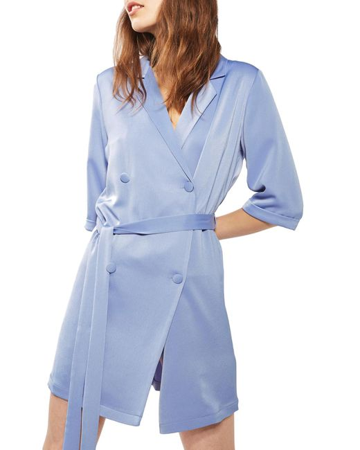 TOPSHOP | Blue Double Breasted Wrap Dress | Lyst