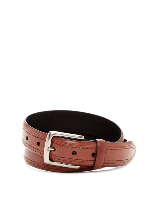 Trafalgar | Brown Double Stitch Leather Belt for Men | Lyst