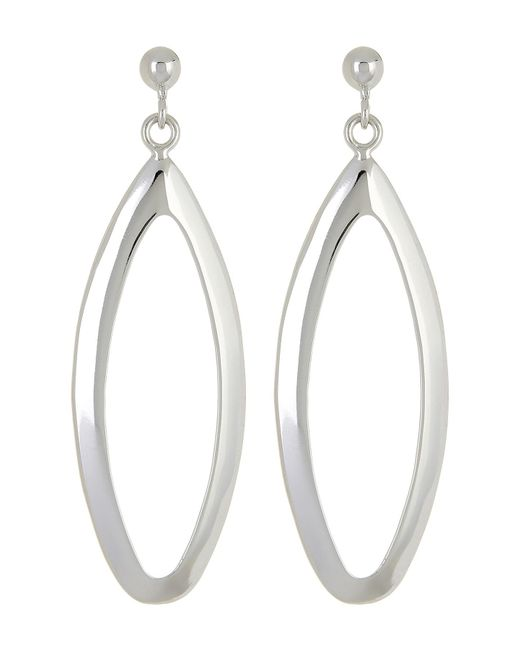Argento Vivo | Metallic Sterling Silver Large Open Oval Drop Earrings | Lyst
