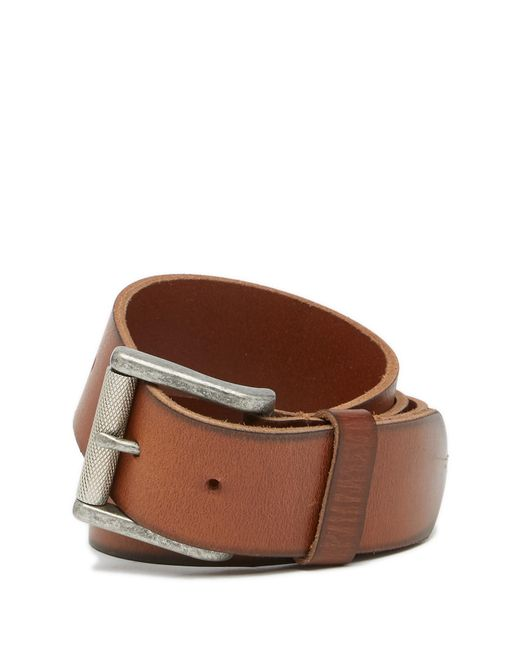 1901 - Brown Burnished Edge Leather Belt for Men - Lyst