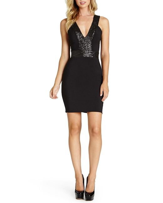 Dress the Population | Black Rylee Sequin & Crepe Body-con Dress | Lyst
