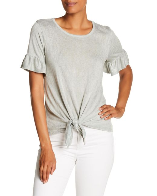 Bobeau - Multicolor Short Sleeves Tie Knot Tee - Lyst