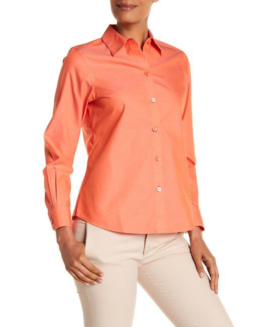 Foxcroft - Orange Long Sleeve Shaped Diane Shirt - Lyst