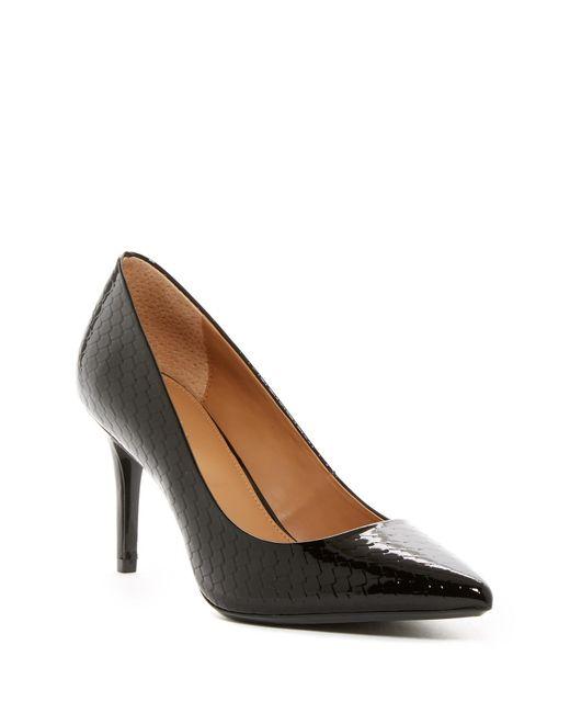 Calvin Klein | Black Gayle Pointed Toe Snakeskin Embossed Pump | Lyst