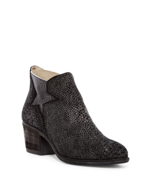 Khrio   Black Snake Embossed Leather Bootie   Lyst