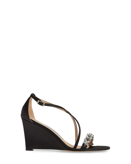 09309c73a30 ... Badgley Mischka - Multicolor Embellished Strappy Wedge Sandal (women) -  Lyst ...