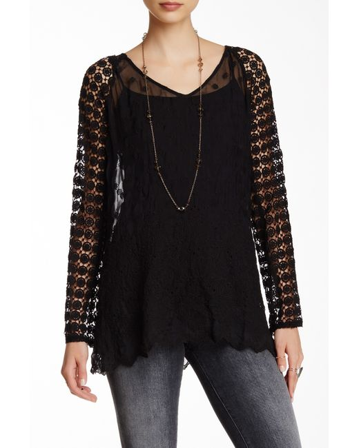 Johnny Was Lace Silk Blouse In Black Save 64 Lyst
