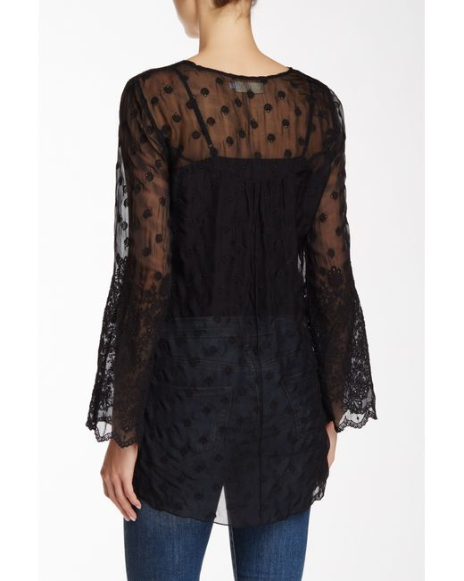 Johnny Was Sheer Embroidered Silk Blouse In Black Save