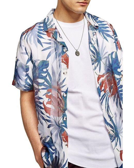 Topman - Blue Palm Print Shirt for Men - Lyst