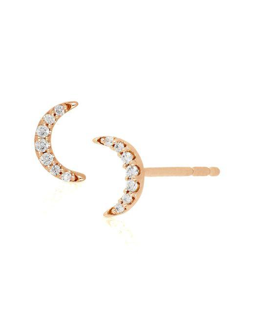 Bony Levy - Metallic 18k Rose Gold Diamond Half Moon Stud Earrings - 0.05 Ctw - Lyst
