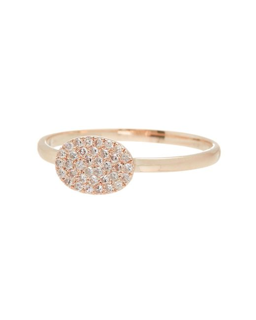 Meira T | Metallic 14k Rose Gold Oval Diamond Pave Ring - Size 7 - 0.12 Ctw | Lyst