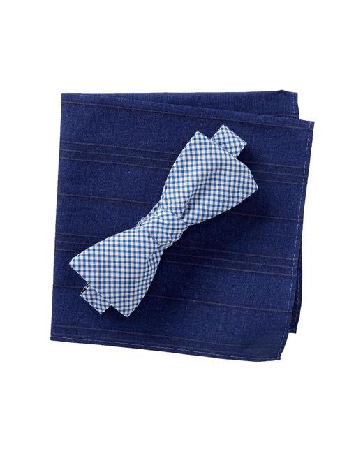 Original Penguin - Blue Graebner Check Bow Tie Set for Men - Lyst