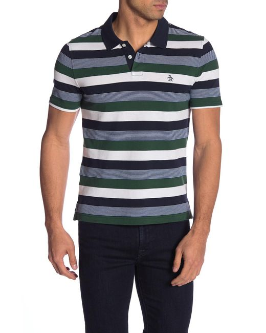 Original Penguin - Blue Pique Stripe Short Sleeve Polo for Men - Lyst