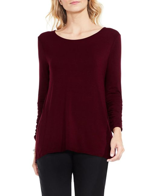 Vince Camuto - Red Ruched Sleeve High/low Top - Lyst