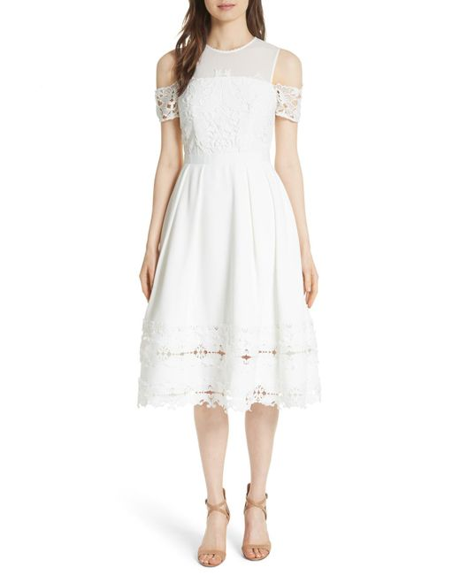 Ted Baker - White Structured Lace Cold Shoulder Midi Dress - Lyst