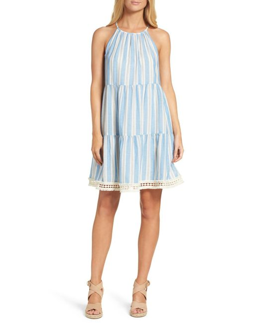 Maggy London | Blue Stripe Shift Dress | Lyst