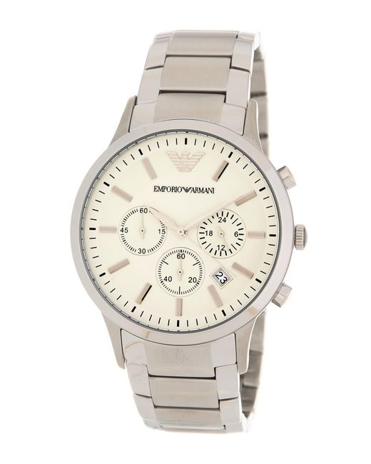 Emporio Armani Metallic Men's Stainless Steel Chronograph Watch, 43mm for men