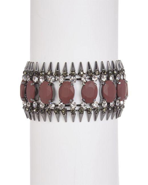 ABS By Allen Schwartz | Metallic Stone & Spike Cuff Bracelet | Lyst