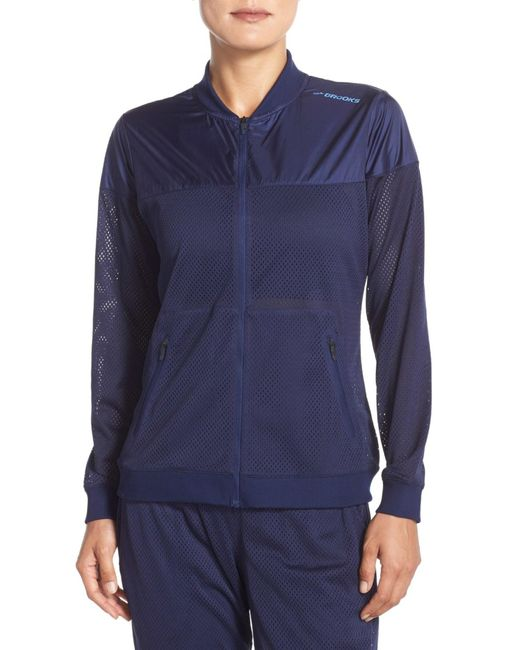 Brooks   Blue Run-Thru Water-Resistant Jacket   Lyst