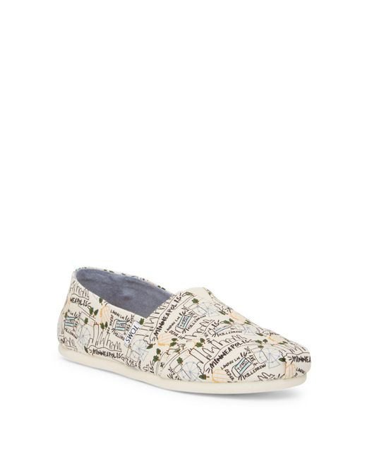 TOMS - Classic Minneapolis Printed Natural Canvas Slip-on Shoe - Lyst