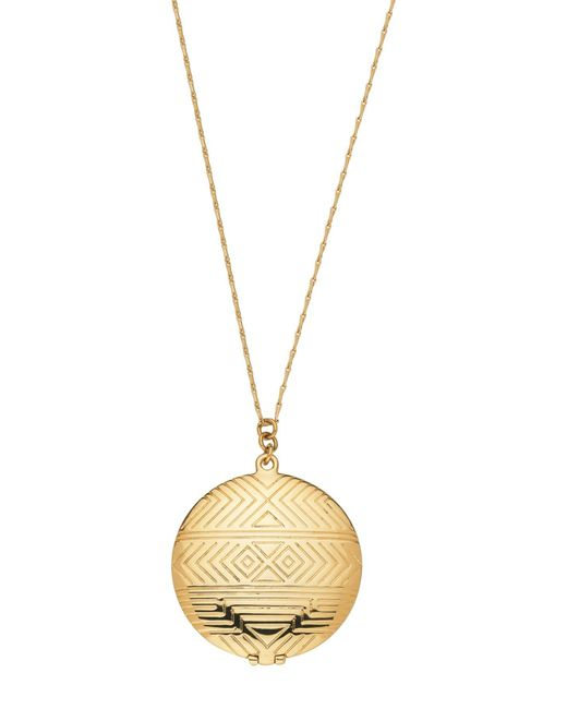 House of Harlow 1960 | Metallic 14k Yellow Gold Plated Geometric Engraved Medallion Locket | Lyst