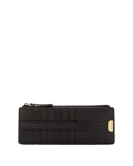 Lodis - Black Borrego Leather Card Case Zip Pocket - Lyst