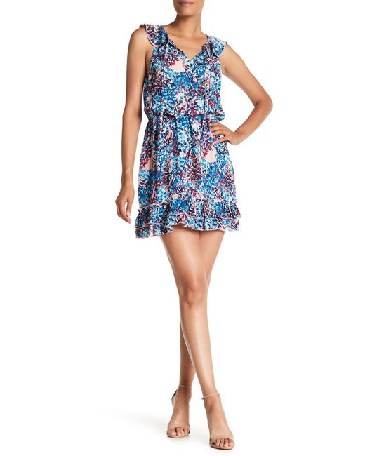 Parker - Blue Sleeveless Print Dress - Lyst