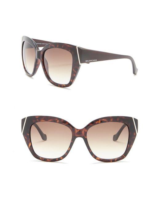 63df906ede9 Balenciaga - Brown 57mm Squared Cat Eye Sunglasses - Lyst ...