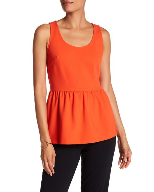 Trina Turk | Orange Judah Peplum Tank | Lyst