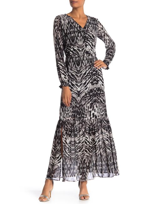 Lyst Eci V Neck Animal Print Maxi Dress In Gray