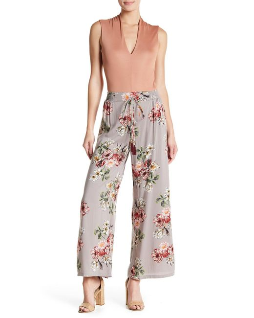 Angie - Gray Print Wide Leg Pants - Lyst