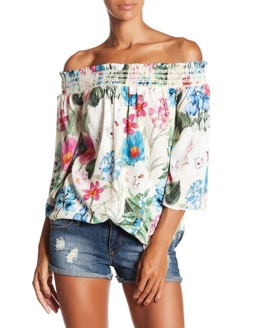 Fifteen Twenty | Multicolor Floral Off The Shoulder Blouse | Lyst