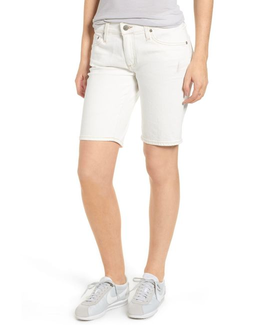 AG Jeans - White Nikki Cutoff Denim Bermuda Shorts - Lyst