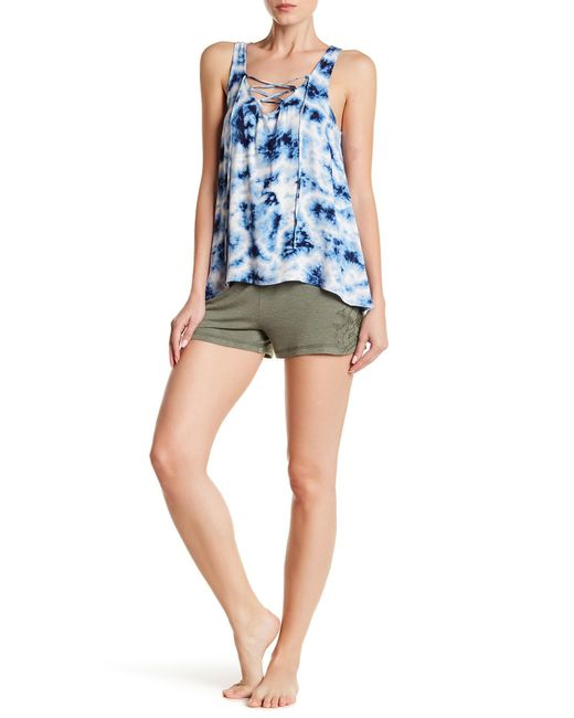 Pj Salvage - Green Floral Crochet Lounge Shorts - Lyst
