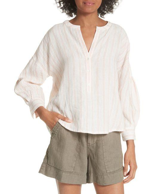 Joie - Multicolor Bekette Collarless Stripe Linen Blouse - Lyst
