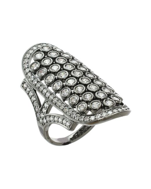 CZ by Kenneth Jay Lane | Metallic Cz Shield Statement Ring | Lyst