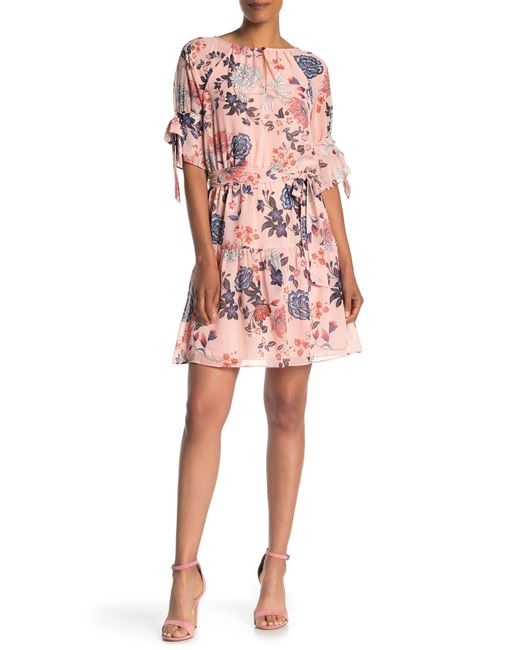 Vince Camuto - Pink Floral Chiffon Tie Sleeve Dress - Lyst