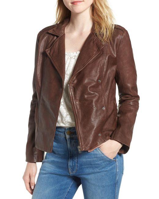 Hinge - Brown Feminine Leather Moto Jacket - Lyst