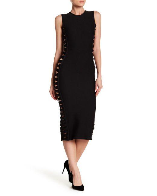 Haute Rogue - Black Cutout Midi Bodycon Dress - Lyst