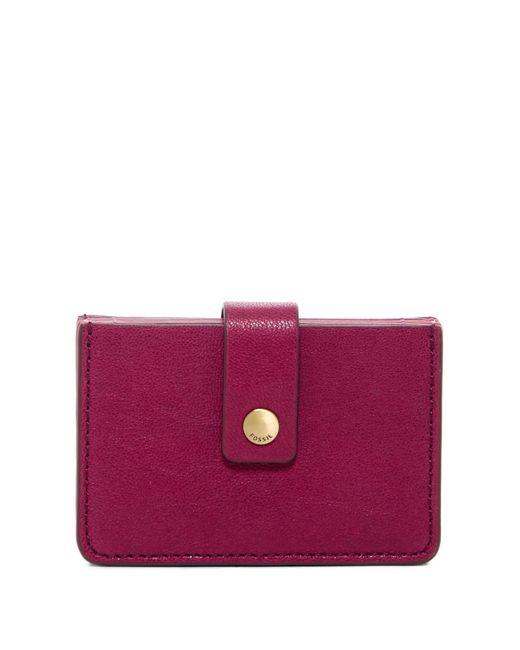 Fossil | Purple Mini Leather Tab Wallet - Rfid Protection | Lyst