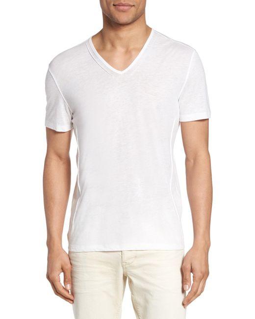 John Varvatos | White V-neck T-shirt for Men | Lyst